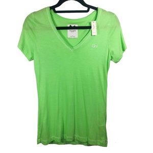 NWT Gilly Hicks Lime Green V Neck Tee